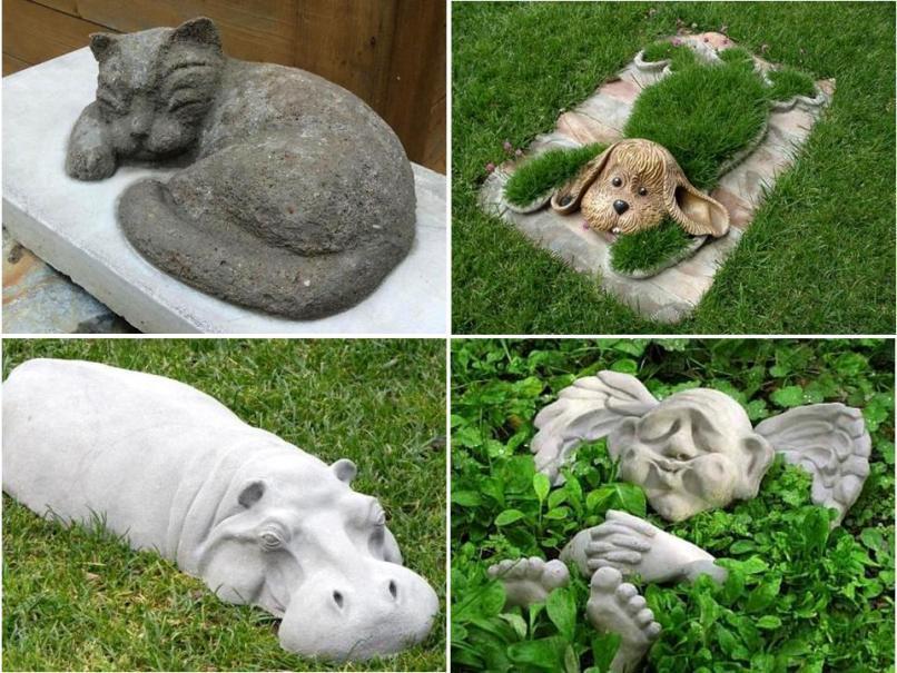 Как сделать фигурки для сада своими руками из цемента и