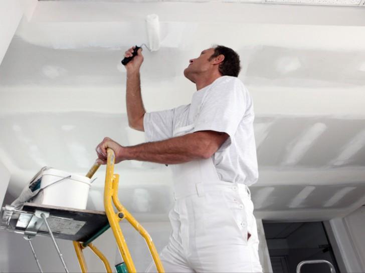 Окраска потолка из ГКЛ