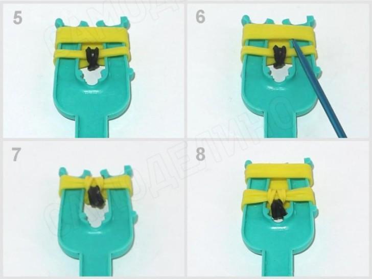 Banan-iz-rezinok-2 Как сплести из резинок фигурку из Майнкрафта, сова, 3д, на ручку. Плетение на рогатке, крючке, станке монстр тейл, вилках. Видео для начинающих
