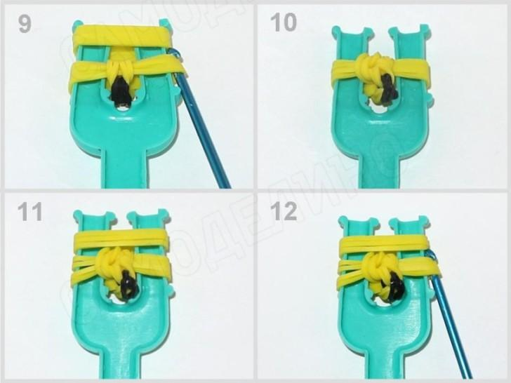 Banan-iz-rezinok-3 Как сплести из резинок фигурку из Майнкрафта, сова, 3д, на ручку. Плетение на рогатке, крючке, станке монстр тейл, вилках. Видео для начинающих
