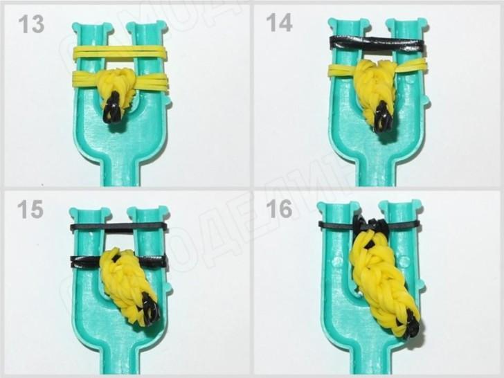 Banan-iz-rezinok-4 Как сплести из резинок фигурку из Майнкрафта, сова, 3д, на ручку. Плетение на рогатке, крючке, станке монстр тейл, вилках. Видео для начинающих