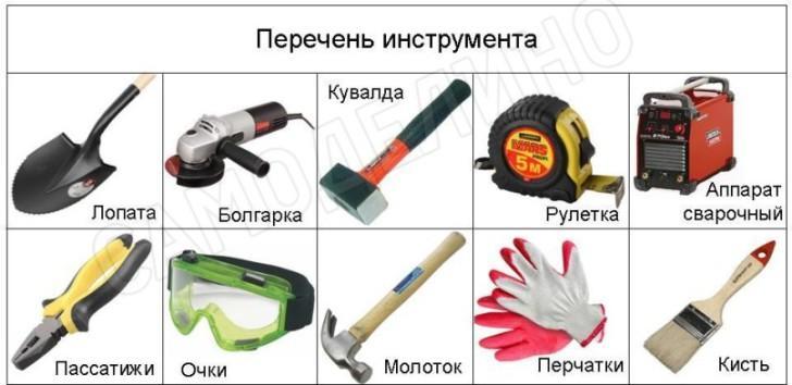 Перечень инструмента