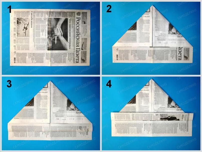 Kepka-iz-gazetyi-1 Как сделать пилотку 🤡 из бумаги своими руками