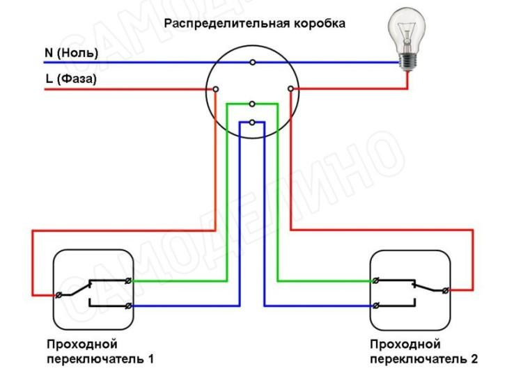 Монтаж двух выключателей