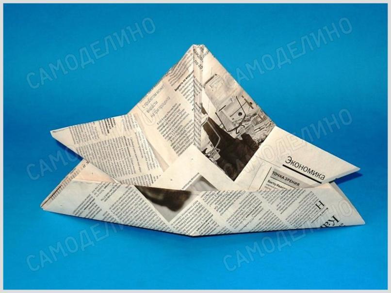 SHlem-iz-gazetyi-4 Как сделать пилотку 🤡 из бумаги своими руками