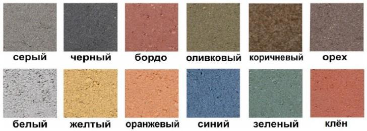 Варианты цвета плитки