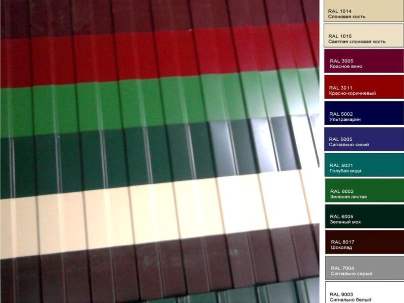Варианты окраски профнастила