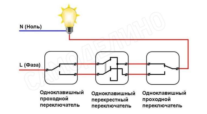 Схема с тремя выключателями