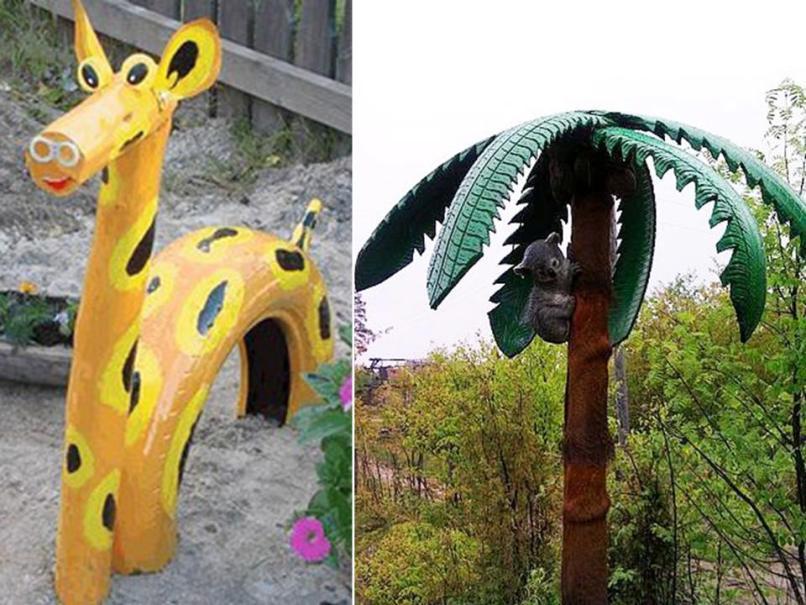 Жираф и пальма из шин