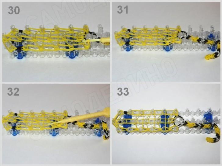 Zmeyka-iz-rezinok-9 Как сплести из резинок фигурку из Майнкрафта, сова, 3д, на ручку. Плетение на рогатке, крючке, станке монстр тейл, вилках. Видео для начинающих
